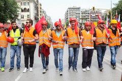 Protestadores durante uma greve geral nacional em Tessalónica Fotos de Stock Royalty Free