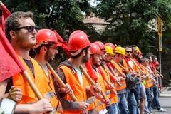 Protestadores durante uma greve geral nacional em Tessalónica Fotografia de Stock