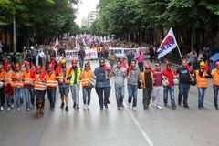Protestadores durante uma greve geral nacional em Tessalónica Imagem de Stock Royalty Free