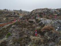 Protestaktion gegen den Bau von Windmühlen in Norwegen stockfotos
