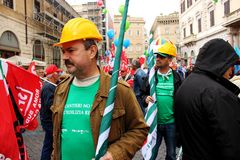 Protestaktion in Rom stockfoto