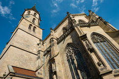 Protestand church with steeple in Schorndorf. With worm`s eye view Stock Photos