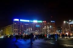 Protestando a Bucarest, la Romania Fotografie Stock