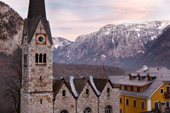Protestant church of Hallstatt, Salzkammergut, Austrian Alps Stock Image