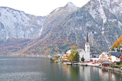 Protestant church nearby Hallstatt lake Stock Image