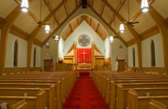 Protestant church sanctuary. A view of the inside of a modern Protestant church sanctuary stock image