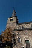 Protestant church with tower in Hilden before blue sky Royalty Free Stock Image