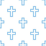 Protestant Cross seamless pattern. Protestant Cross white and blue seamless pattern for web design. Vector symbol Stock Photo