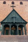 Protestant Johannes church in Berlin Frohnau Germany. With carving details of the entrance stock images
