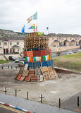 A Protestant loyalist bonfire in Londonderry Northern ireland. A Protestant loyalist bonfire in Northern Ireland built annually and burned on the 12 th July to Stock Images