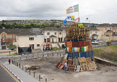 A Protestant loyalist bonfire in Londonderry Northern ireland stock image