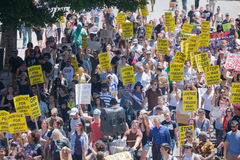 Protestants in the streets with signs Royalty Free Stock Photography