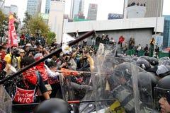 Protestas Anti-OMC en Hong-Kong Fotos de archivo libres de regalías