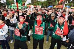 Protestas Anti-OMC en Hong-Kong Foto de archivo libre de regalías