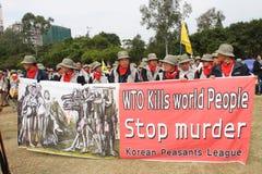 Protestas Anti-OMC en Hong-Kong Imagen de archivo libre de regalías