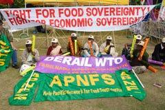 Protestas Anti-OMC en Hong-Kong Imágenes de archivo libres de regalías