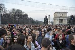 Protestas anticomunistas de los manifestantes en Chisinau imagenes de archivo