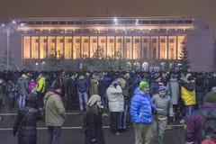 Protestas antis de la corrupción en Bucarest el 22 de enero de 2017 Fotografía de archivo