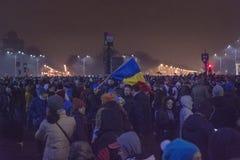Protestas antis de la corrupción en Bucarest el 22 de enero de 2017 Foto de archivo