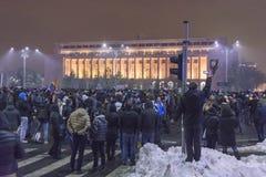 Protestas antis de la corrupción en Bucarest el 22 de enero de 2017 Fotos de archivo