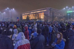 Protestas antis de la corrupción en Bucarest el 22 de enero de 2017 Fotografía de archivo libre de regalías
