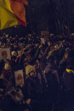 Protestas antis de la corrupción en Bucarest el 22 de enero de 2017 Foto de archivo libre de regalías