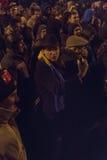 Protestas antis de la corrupción en Bucarest el 22 de enero de 2017 Imágenes de archivo libres de regalías