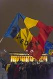 Protestas antis de la corrupción en Bucarest Imagen de archivo libre de regalías
