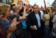 Protestas contra el gobierno en Polonia Foto de archivo libre de regalías