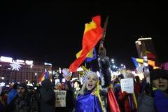Protestas de Bucarest, Rumania Imagen de archivo