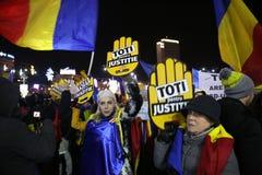 Protestas de Bucarest, Rumania Imágenes de archivo libres de regalías