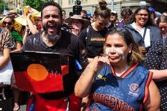Protestas del día de Australia del día de la invasión en Melbourne Fotos de archivo