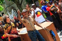 Protestas del día de Australia del día de la invasión en Melbourne Imagenes de archivo