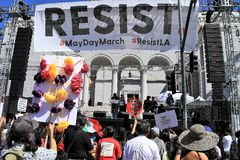 Protestas del primero de mayo en LA Imagenes de archivo