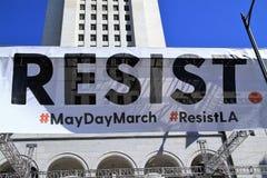 Protestas del primero de mayo en LA Imagen de archivo libre de regalías