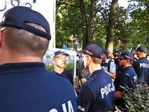 Protestas delante del senado y del parlamento polacos, el 24 de julio de 2018, Varsovia, Polonia fotografía de archivo
