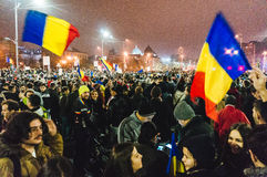 Protestas en Bucarest Fotografía de archivo libre de regalías