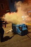 2015 protestas sociales en Oakland céntrica Fotos de archivo