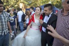 Protestas y eventos del parque de Taksim Gezi Pareja nuevamente casada en th Fotos de archivo libres de regalías