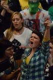 Protestataires à l'intérieur de capitol du Wisconsin Images stock