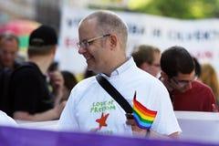 Protestataires dans la fierté gaie à Riga 2008 Photographie stock libre de droits