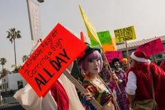 Protestataires drôles près de Santa Monica Pier image stock
