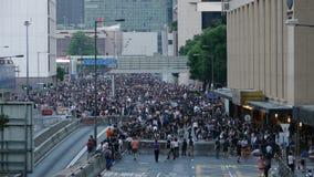 Protestatario alla rivoluzione dell'ombrello in centrale, Hong Kong Fotografia Stock Libera da Diritti