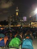 Protestatario alla rivoluzione dell'ombrello in centrale, Hong Kong Fotografia Stock
