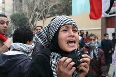 Protestatario durante la rivoluzione egiziana fotografie stock libere da diritti