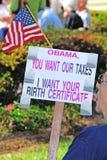 Protestateur d'Obama Birther Photographie stock libre de droits