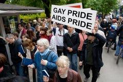 Protestateurs contre la fierté 2009 de Riga Images libres de droits