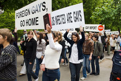 Protestateurs contre la fierté 2009 de Riga Photos stock
