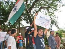 Protestateurs d'étudiants dans Mumbai pour le copain Bill de janv. Lok Image stock