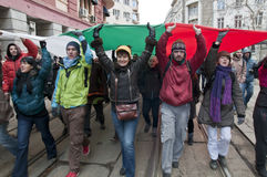 Protestation à Sofia, Bulgarie Photographie stock